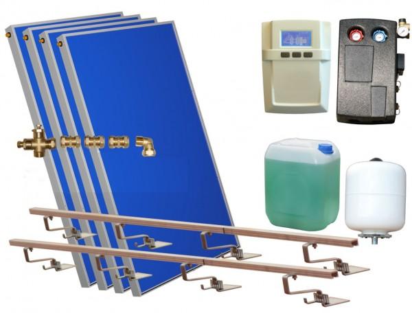 Solarthermie Basic Paket - Eurotherm-Solar Flachkollektoren – 4,04m² – Aufdachmontage