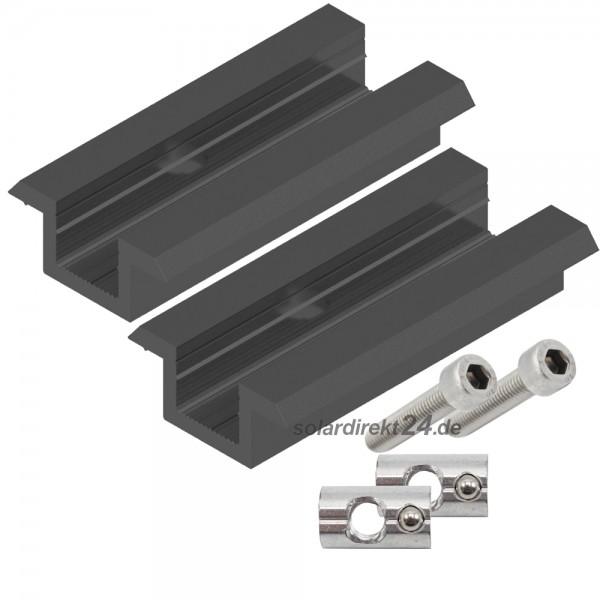 2er-Set Mittelklemme für 30-50 mm Module inkl. Schrauben schwarz Photovoltaik PV Solar