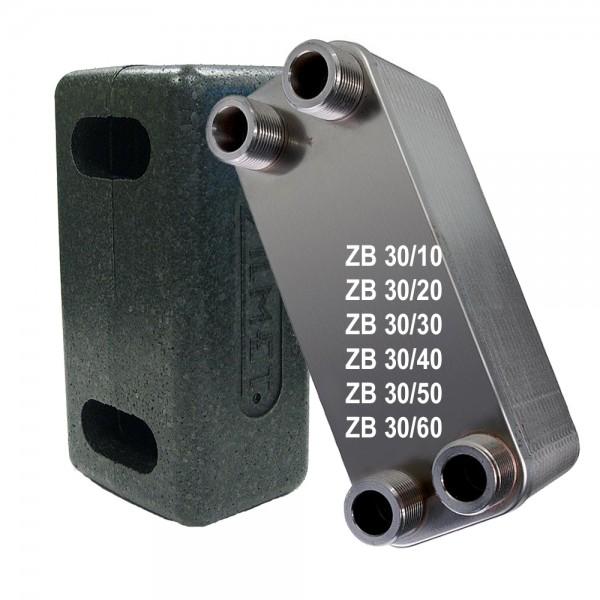 """Plattenwärmetauscher inkl. Isolierung ZB30 3/4"""" 10 bis 60 Platten"""