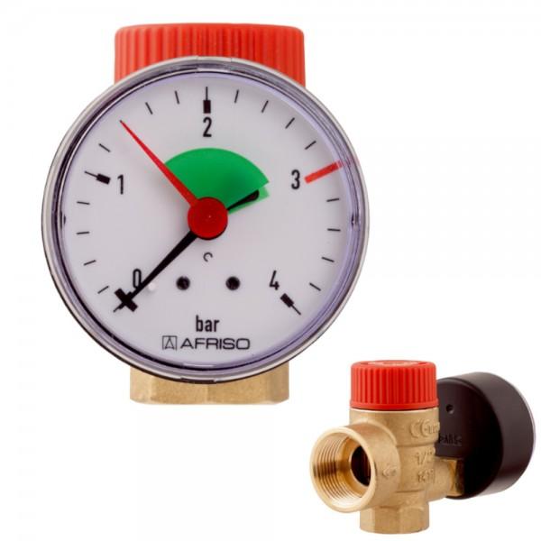 """Afriso Membran-Sicherheitsventil 1/2"""" x 3/4"""" mit Manometer 3,0 bar Überdruckventil"""