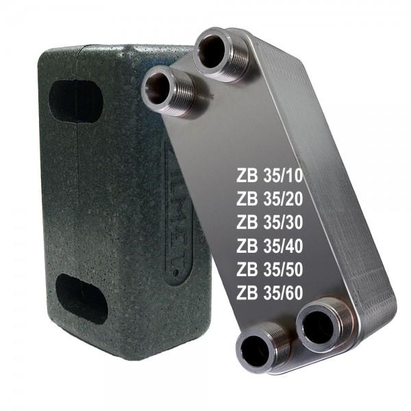 """Plattenwärmetauscher inkl. Isolierung ZB35 1"""" 10 bis 60 Platten"""