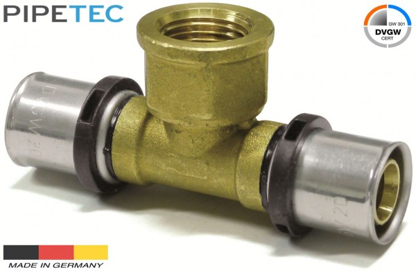 "Pipetec Press-T-Stück mit Innengewinde 26x3mm - 3/4"" - 26x3mm, DVGW, TH"