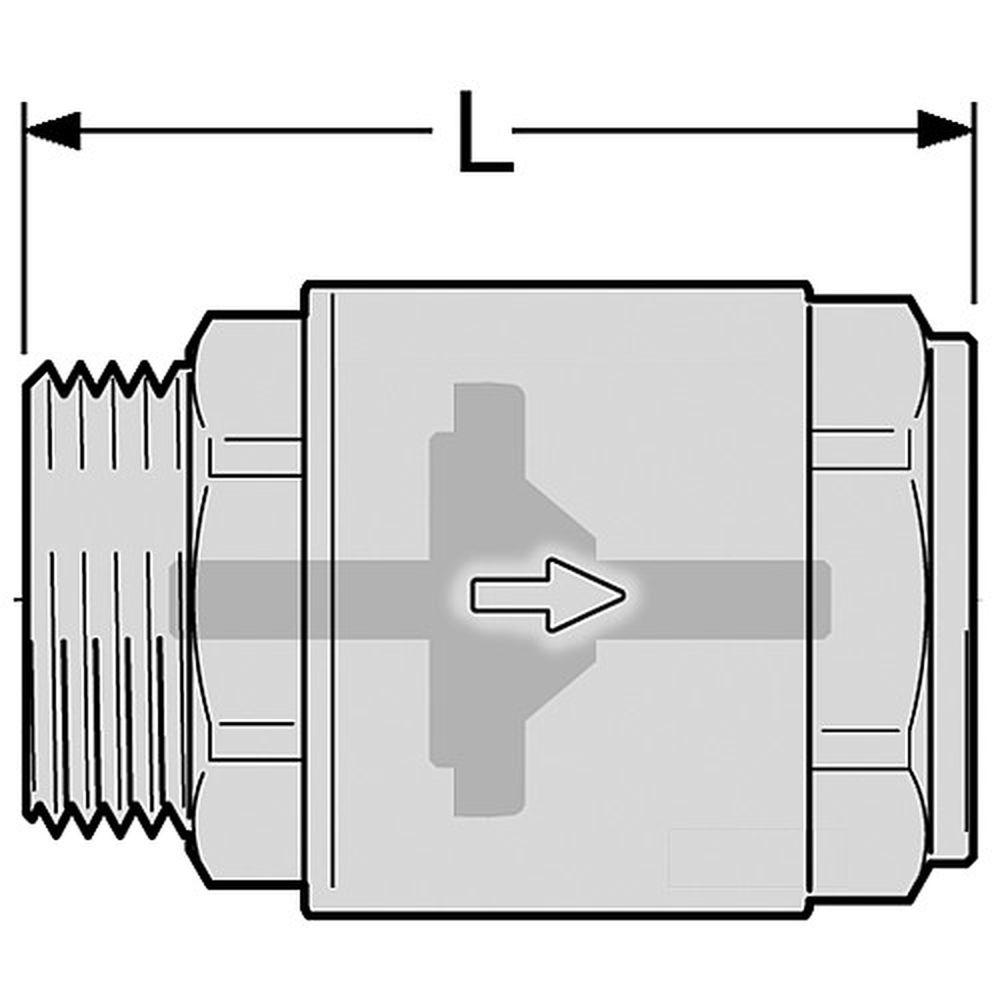 R/ückschlagventil//Schwerkraftbremse 3//8 Zoll Innengewinde zu Au/ßengewinde
