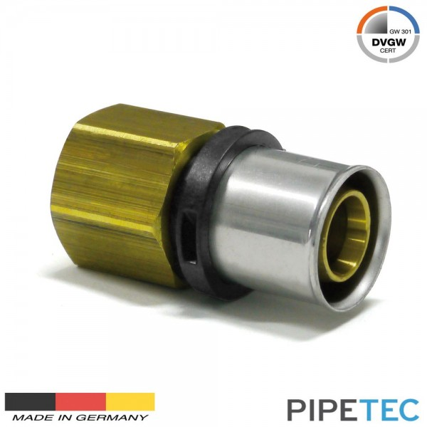 "Pipetec Press-Übergang Innengewinde 20x2mm - 1/2"" DVGW, TH Pressfitting"