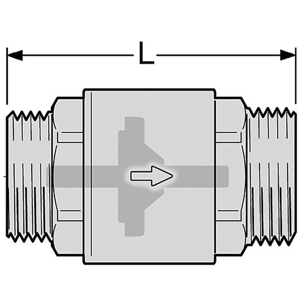 R/ückschlagventil//Schwerkraftbremse 1//2 Zoll Au/ßengewinde beidseitig