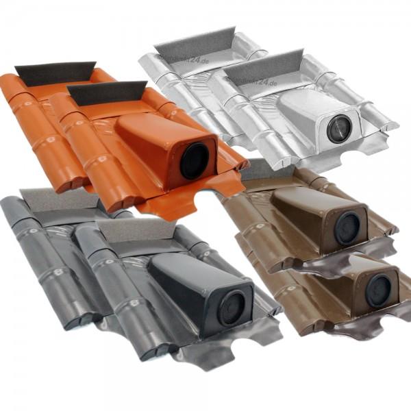 2er-Set Dachdurchführung für Betonziegel pulverbeschichtet verzinkt Solarleitung