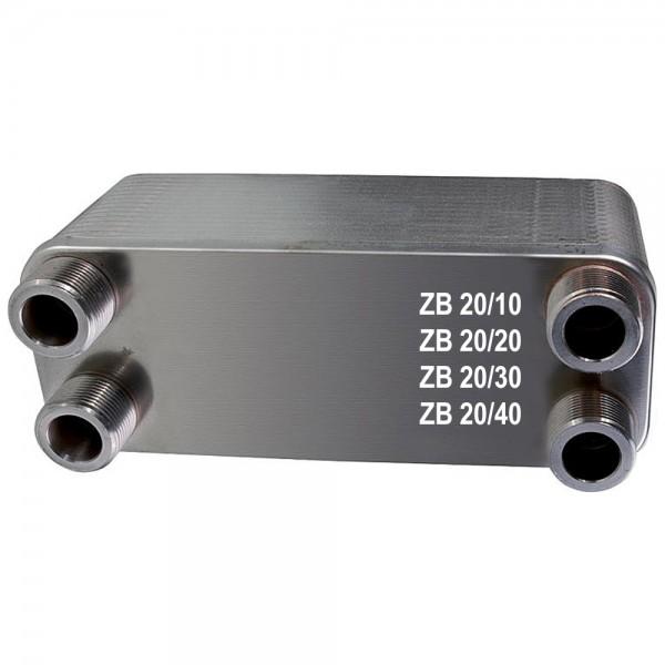 Plattenwärmetauscher ZB20 Edelstahl 4 x 3/4 Zoll 10 bis 40 Platten