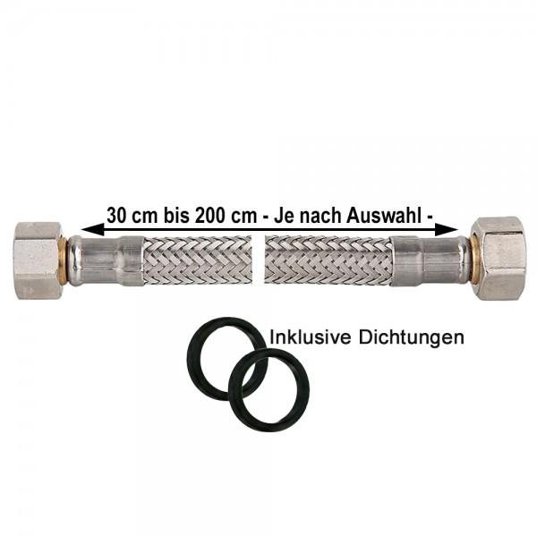 """Panzerschlauch IGxIG 3/8"""" bis 1 1/4"""" inkl. Dichtung Flexschlauch Druckschlauch KTW-A"""