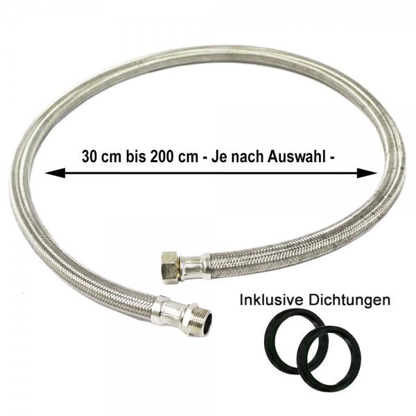 """Panzerschlauch IGxAG 3/8"""" bis 1 1/4"""" inkl. Dichtung Edelstahlumflechtung Flexschlauch"""