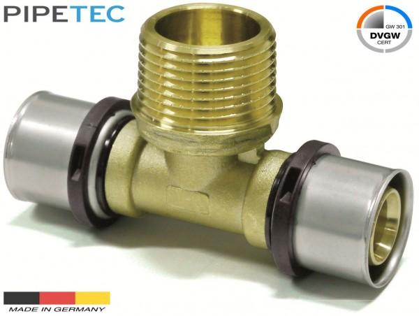 """Pipetec Press-T-Stück mit Außengewinde 26x3mm - 1/2"""" - 26x3mm, DVGW, TH"""