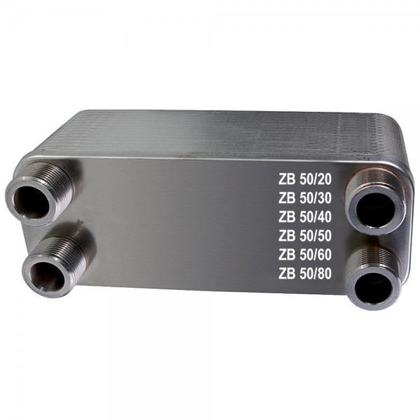 """Plattenwärmetauscher ZB50 Edelstahl 4 x 1 1/4"""" 20 bis 80 Platten"""