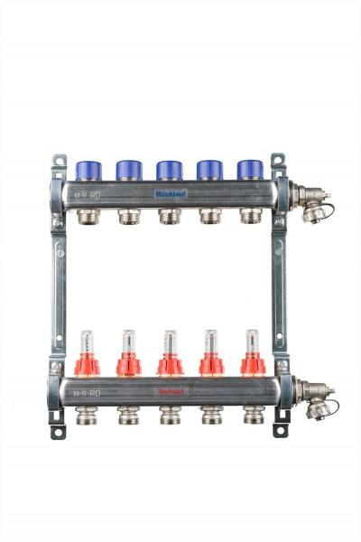 Heizkreisverteiler - 2 Abgänge - Baulänge: 194 mm Edelstahl