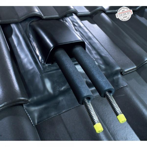 AufdachDICHT für Solar Rohre Leitungen schwarz Abdichtung Dachdurchführung Eisedicht