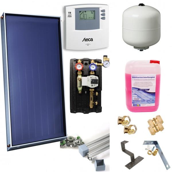 Solarthermie Basic Paket – DIMAS SOL+ 23 Flachkollektor – 13,44m² – Aufdachmontage