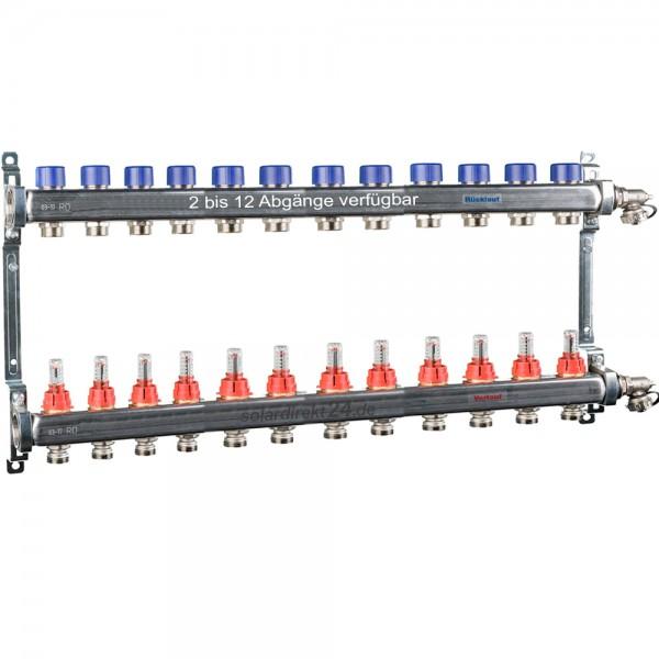 Heizkreisverteiler 2 bis 12 Abgänge Edelstahl Durchflussmesser Fussbodenheizung