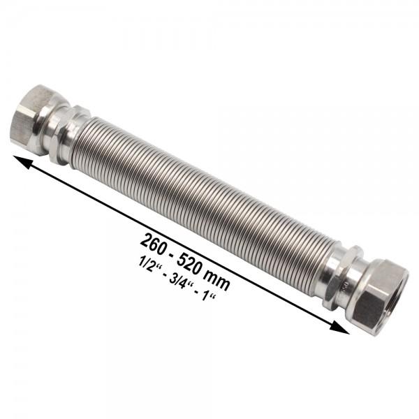 "Wellrohr ausziehbar IG/IG 260-520 mm 1/2"" 3/4"" 1"" Edelstahl Solarrohr"