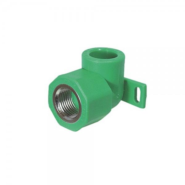 """Aqua-Plus - PPR Rohr Wandanschlusswinkel 90° IG d = 20 mm x DN 15 (1/2""""), grün"""